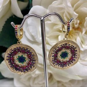 Multi-Colored CZ Explosion Medallion Earring, NWT
